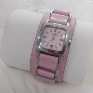 Pink Leather Cuff Analogue Watch Bracelet